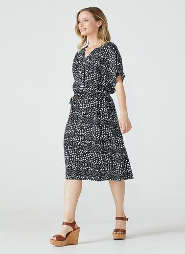 Sementa Yarım Düğmeli Kemerli Kadın Elbise - Siyah Siyah